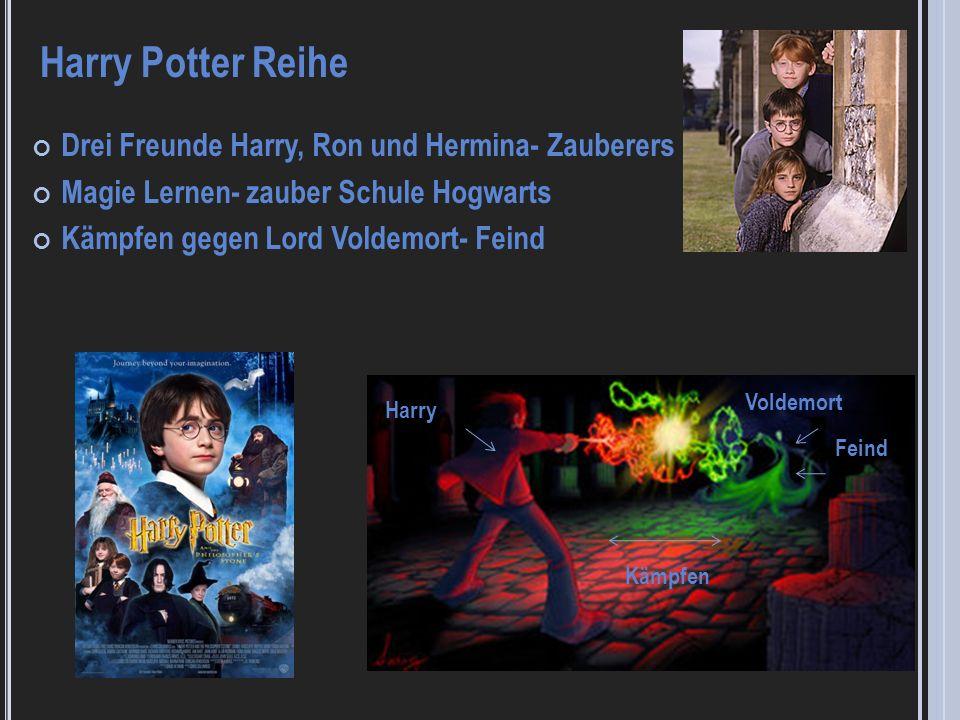 Drei Freunde Harry, Ron und Hermina- Zauberers Magie Lernen- zauber Schule Hogwarts Kämpfen gegen Lord Voldemort- Feind Harry Potter Reihe Harry Volde
