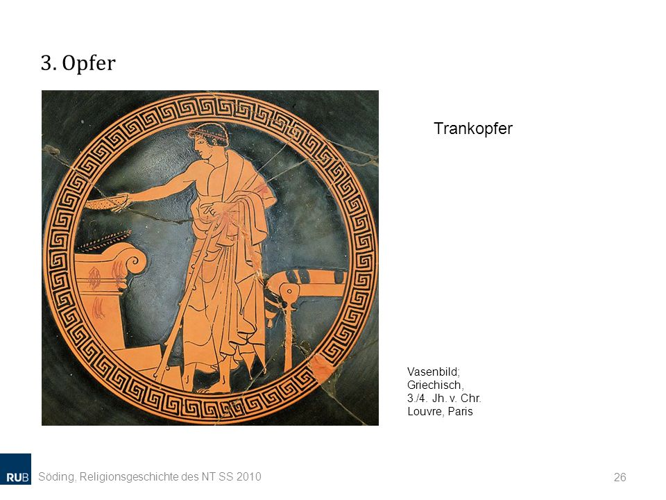 3. Opfer Söding, Religionsgeschichte des NT SS 2010 26 Vasenbild; Griechisch, 3./4. Jh. v. Chr. Louvre, Paris Trankopfer