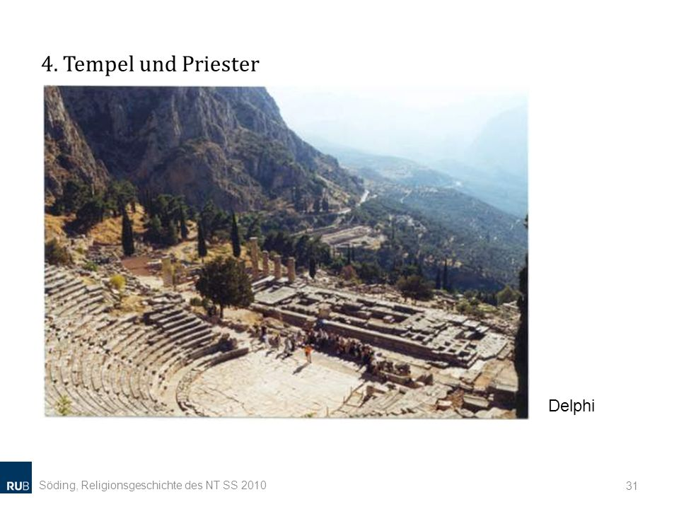 4. Tempel und Priester Söding, Religionsgeschichte des NT SS 2010 31 Delphi