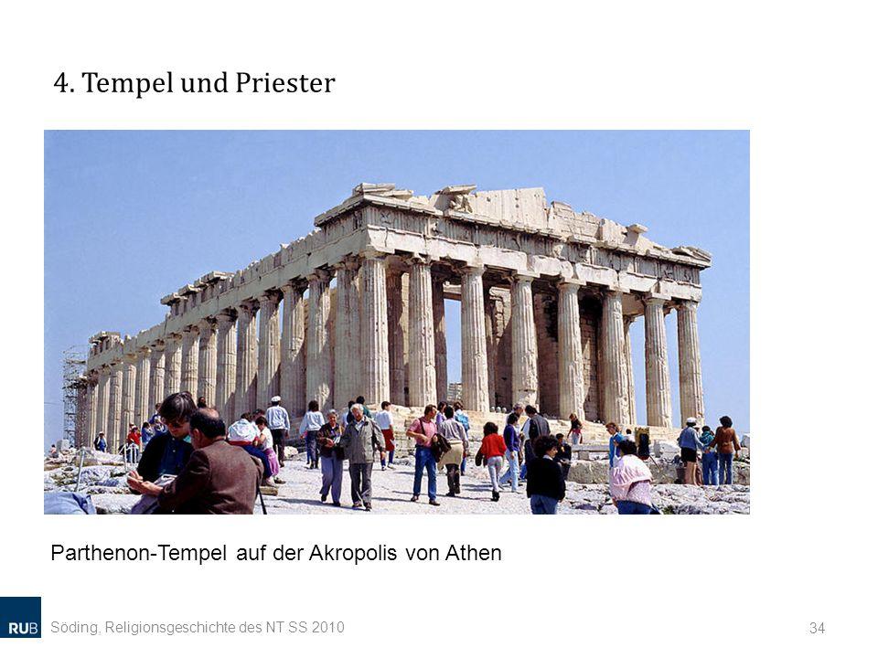 4. Tempel und Priester Söding, Religionsgeschichte des NT SS 2010 34 Parthenon-Tempel auf der Akropolis von Athen