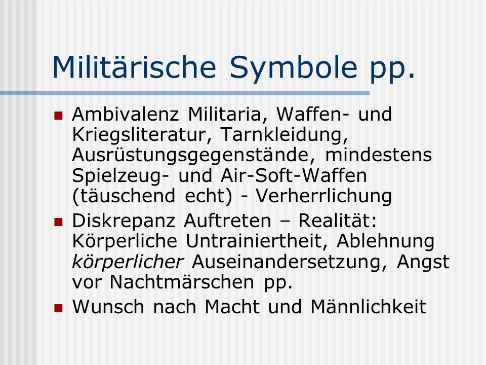 Militärische Symbole pp. Ambivalenz Militaria, Waffen- und Kriegsliteratur, Tarnkleidung, Ausrüstungsgegenstände, mindestens Spielzeug- und Air-Soft-W