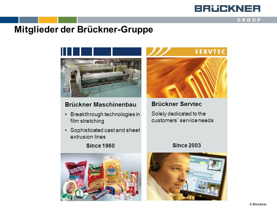 © Brückner Brückner Servtec Solely dedicated to the customers` service needs Brückner Maschinenbau Breakthrough technologies in film stretching Sophis