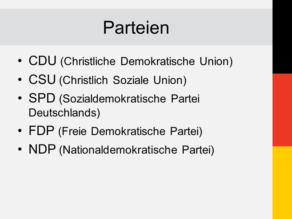 Parteien CDU (Christliche Demokratische Union) CSU (Christlich Soziale Union) SPD (Sozialdemokratische Partei Deutschlands) FDP (Freie Demokratische P