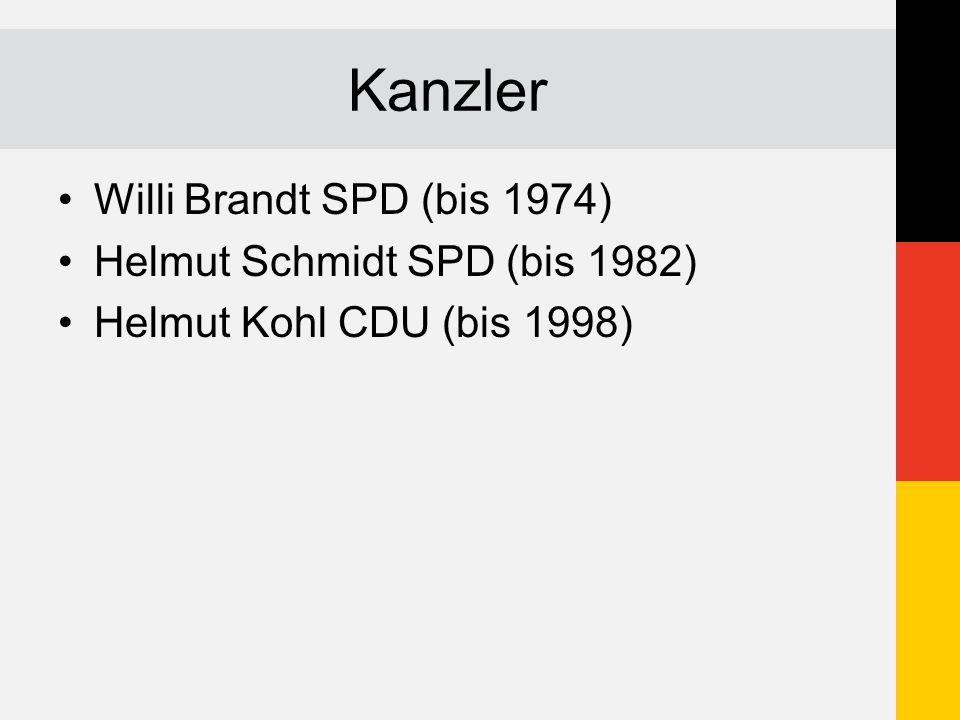 Kanzler Willi Brandt SPD (bis 1974) Helmut Schmidt SPD (bis 1982) Helmut Kohl CDU (bis 1998)