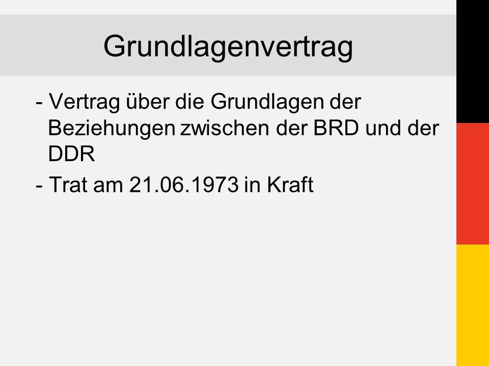 Grundlagenvertrag - Vertrag über die Grundlagen der Beziehungen zwischen der BRD und der DDR - Trat am 21.06.1973 in Kraft