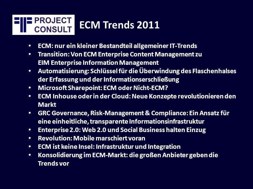 ECM Trends 2011 ECM: nur ein kleiner Bestandteil allgemeiner IT-Trends Transition: Von ECM Enterprise Content Management zu EIM Enterprise Information