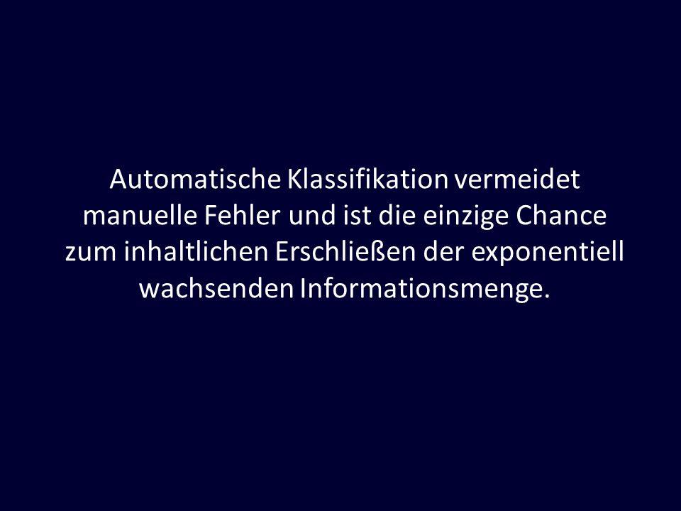 Automatische Klassifikation vermeidet manuelle Fehler und ist die einzige Chance zum inhaltlichen Erschließen der exponentiell wachsenden Informations