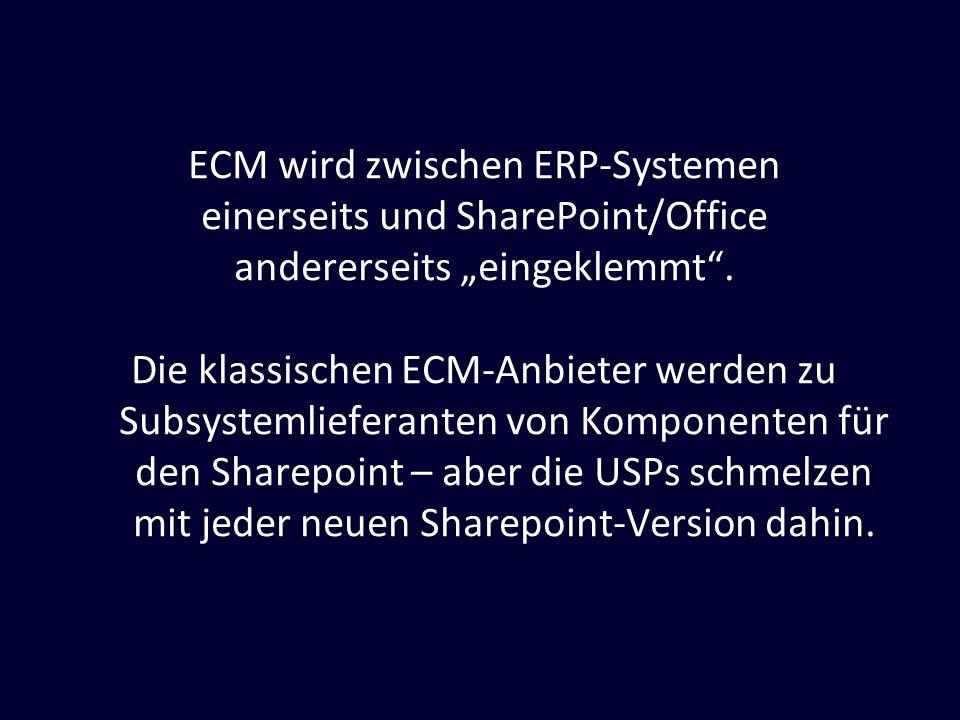 ECM wird zwischen ERP-Systemen einerseits und SharePoint/Office andererseits eingeklemmt. Die klassischen ECM-Anbieter werden zu Subsystemlieferanten