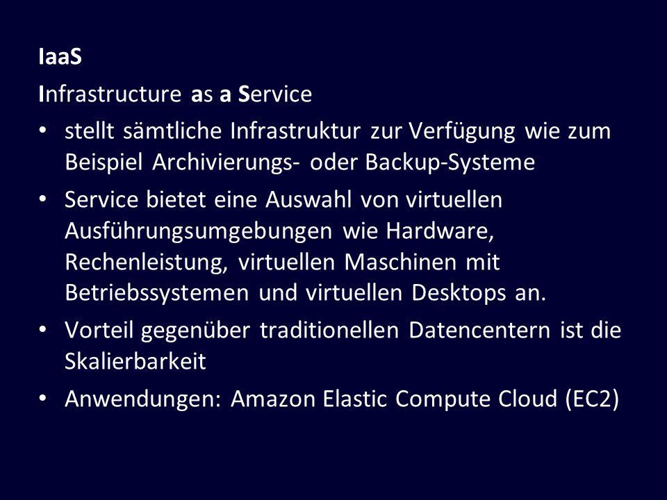 Infrastructure as a Service stellt sämtliche Infrastruktur zur Verfügung wie zum Beispiel Archivierungs- oder Backup-Systeme Service bietet eine Auswa
