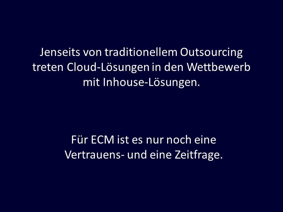 Jenseits von traditionellem Outsourcing treten Cloud-Lösungen in den Wettbewerb mit Inhouse-Lösungen. Für ECM ist es nur noch eine Vertrauens- und ein