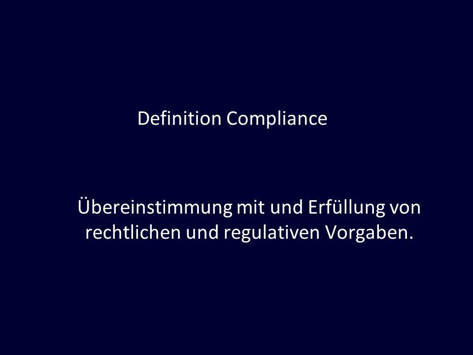Definition Compliance Übereinstimmung mit und Erfüllung von rechtlichen und regulativen Vorgaben.