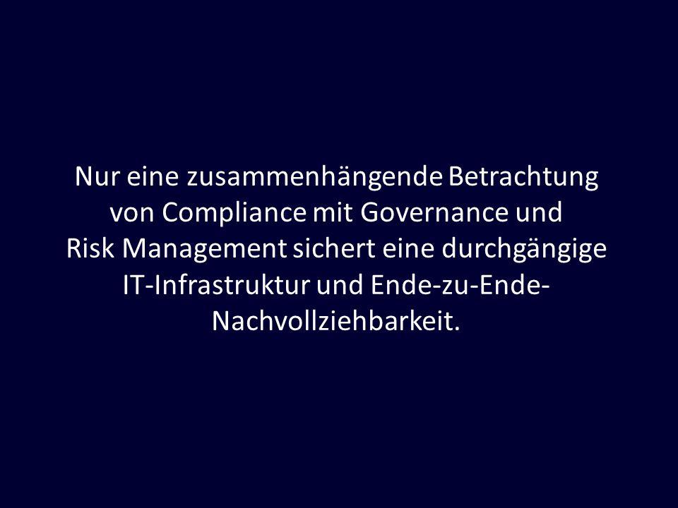 Nur eine zusammenhängende Betrachtung von Compliance mit Governance und Risk Management sichert eine durchgängige IT-Infrastruktur und Ende-zu-Ende- N