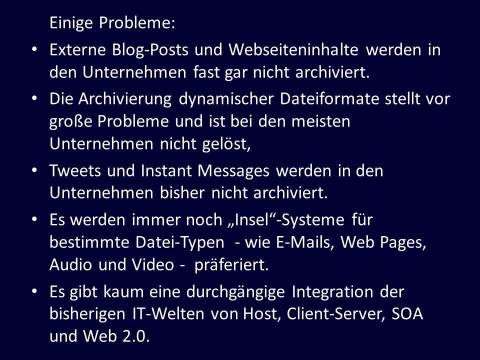 Einige Probleme: Externe Blog-Posts und Webseiteninhalte werden in den Unternehmen fast gar nicht archiviert. Die Archivierung dynamischer Dateiformat