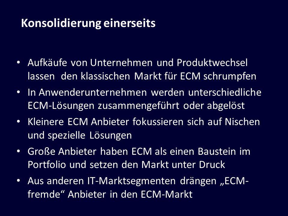 Aufkäufe von Unternehmen und Produktwechsel lassen den klassischen Markt für ECM schrumpfen In Anwenderunternehmen werden unterschiedliche ECM-Lösunge