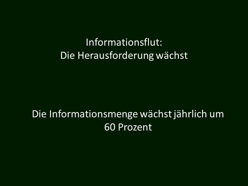 Informationsflut: Die Herausforderung wächst Die Informationsmenge wächst jährlich um 60 Prozent