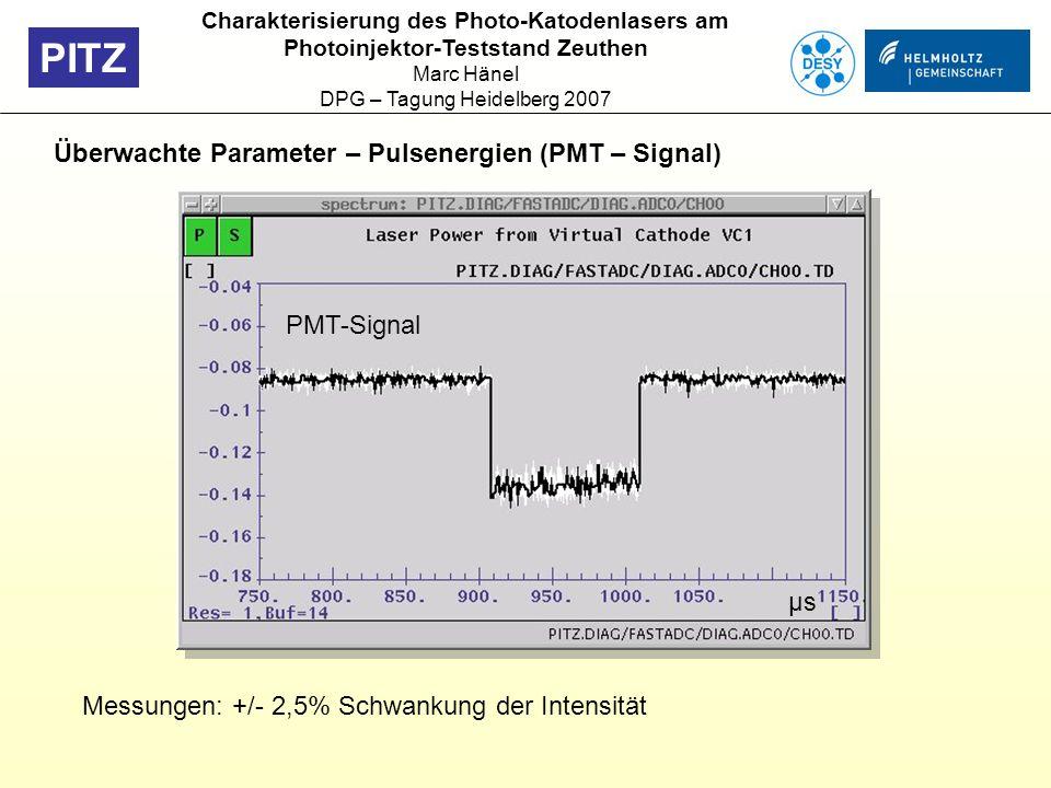 PITZ Überwachte Parameter – Pulsenergien (PMT – Signal) Charakterisierung des Photo-Katodenlasers am Photoinjektor-Teststand Zeuthen Marc Hänel DPG –