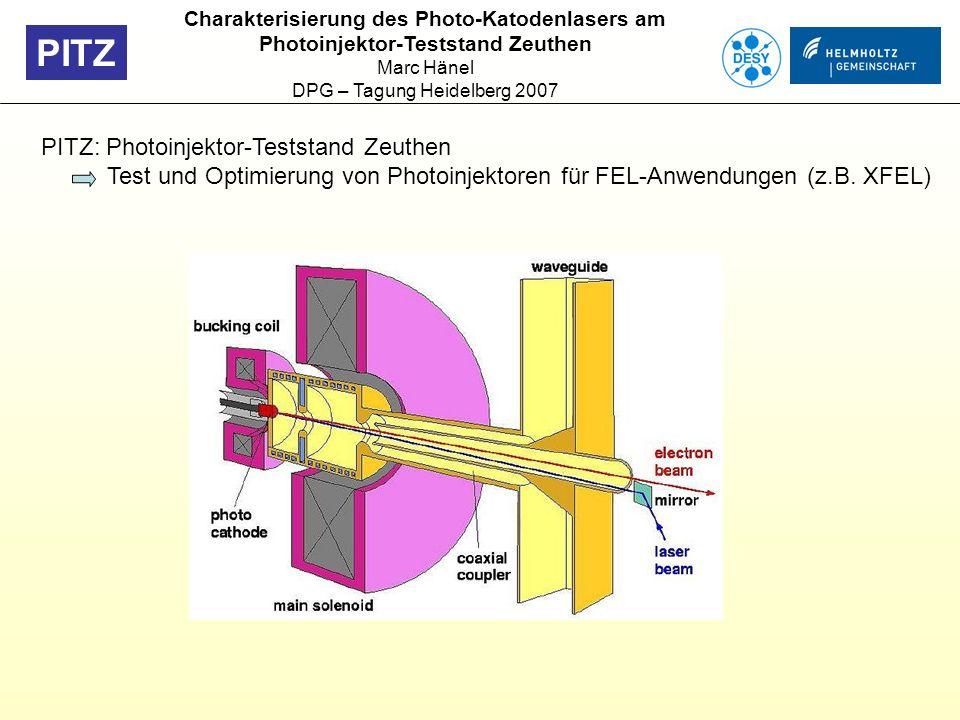 Charakterisierung des Photo-Katodenlasers am Photoinjektor-Teststand Zeuthen Marc Hänel DPG – Tagung Heidelberg 2007 PITZ: Photoinjektor-Teststand Zeu