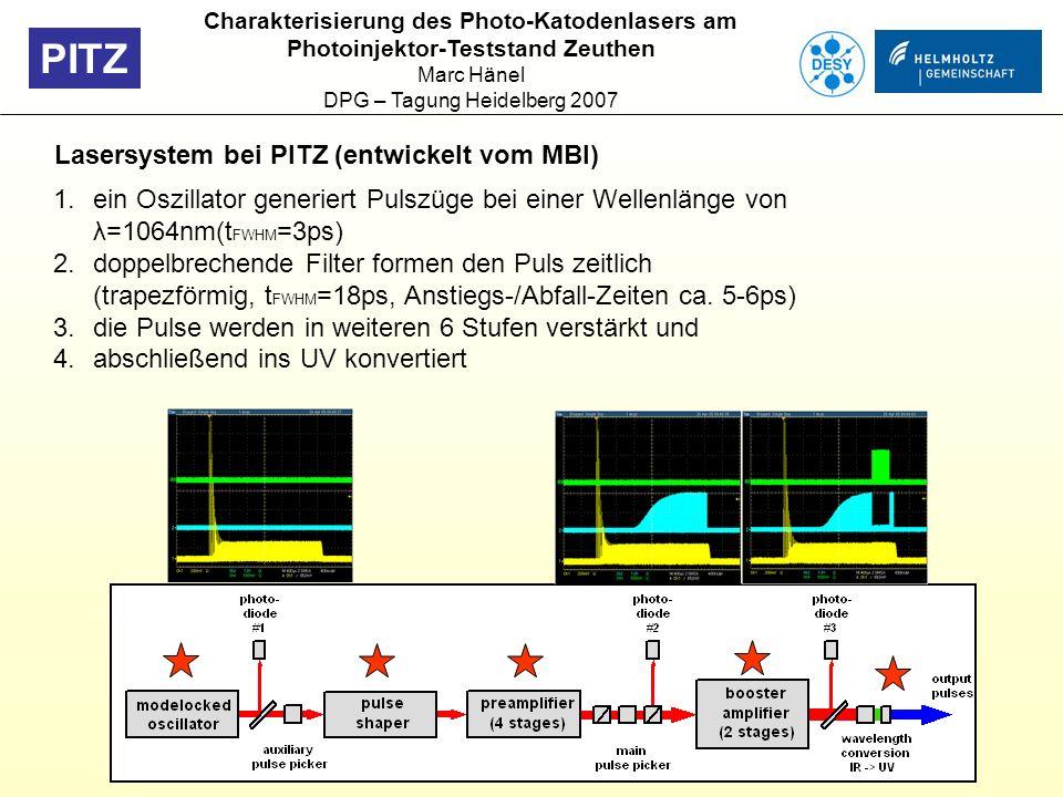PITZ Lasersystem bei PITZ (entwickelt vom MBI) 1.ein Oszillator generiert Pulszüge bei einer Wellenlänge von λ=1064nm(t FWHM =3ps) 2.doppelbrechende F