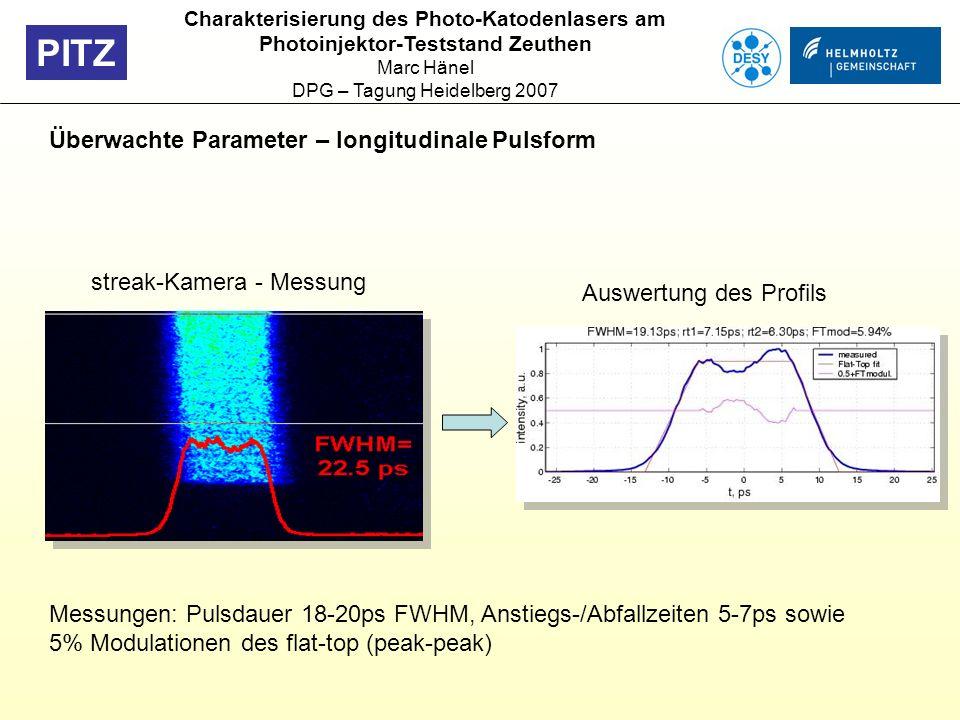 PITZ Überwachte Parameter – longitudinale Pulsform streak-Kamera - Messung Auswertung des Profils Charakterisierung des Photo-Katodenlasers am Photoin