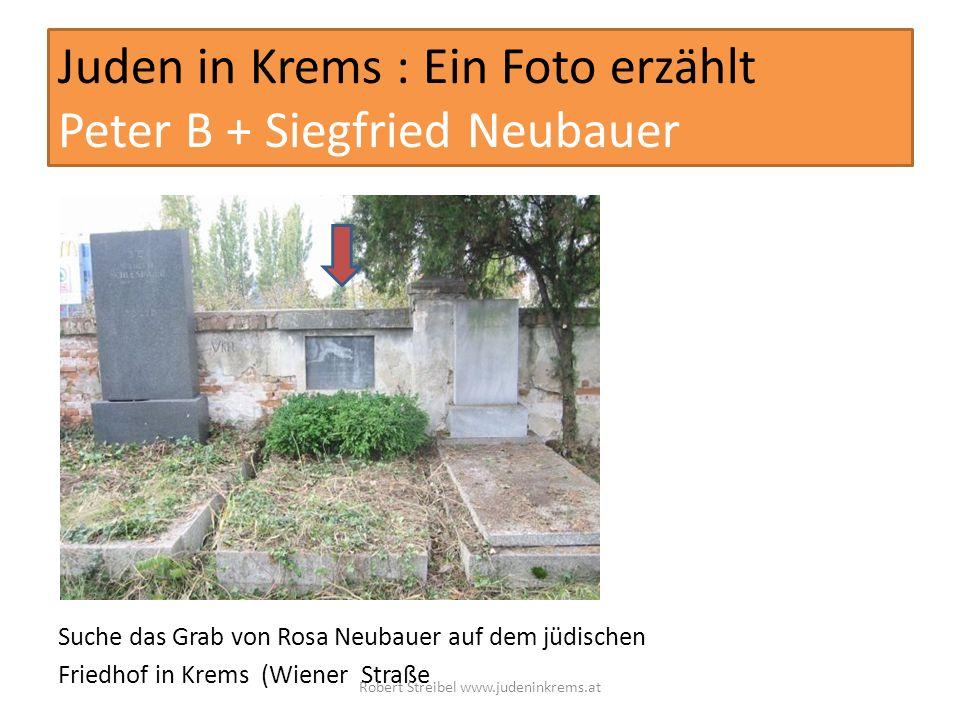 Juden in Krems : Ein Foto erzählt Peter B + Siegfried Neubauer Suche das Grab von Rosa Neubauer auf dem jüdischen Friedhof in Krems (Wiener Straße Rob