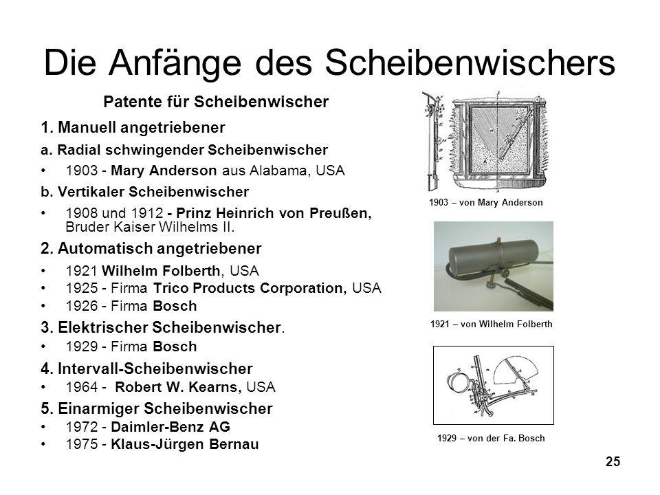 25 Die Anfänge des Scheibenwischers Patente für Scheibenwischer 1. Manuell angetriebener a. Radial schwingender Scheibenwischer 1903 - Mary Anderson a