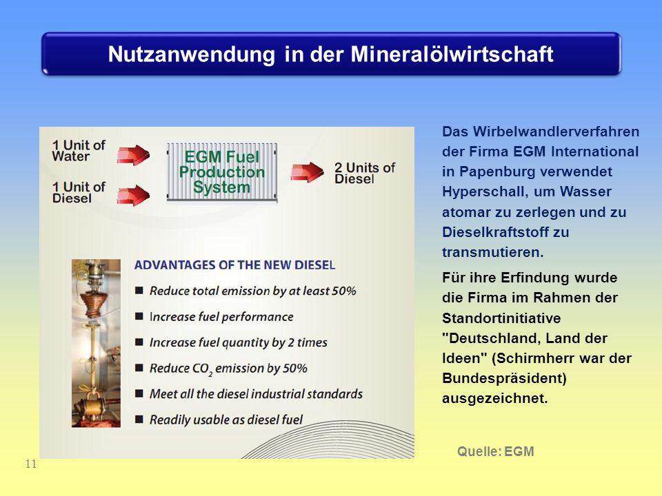 11 Das Wirbelwandlerverfahren der Firma EGM International in Papenburg verwendet Hyperschall, um Wasser atomar zu zerlegen und zu Dieselkraftstoff zu