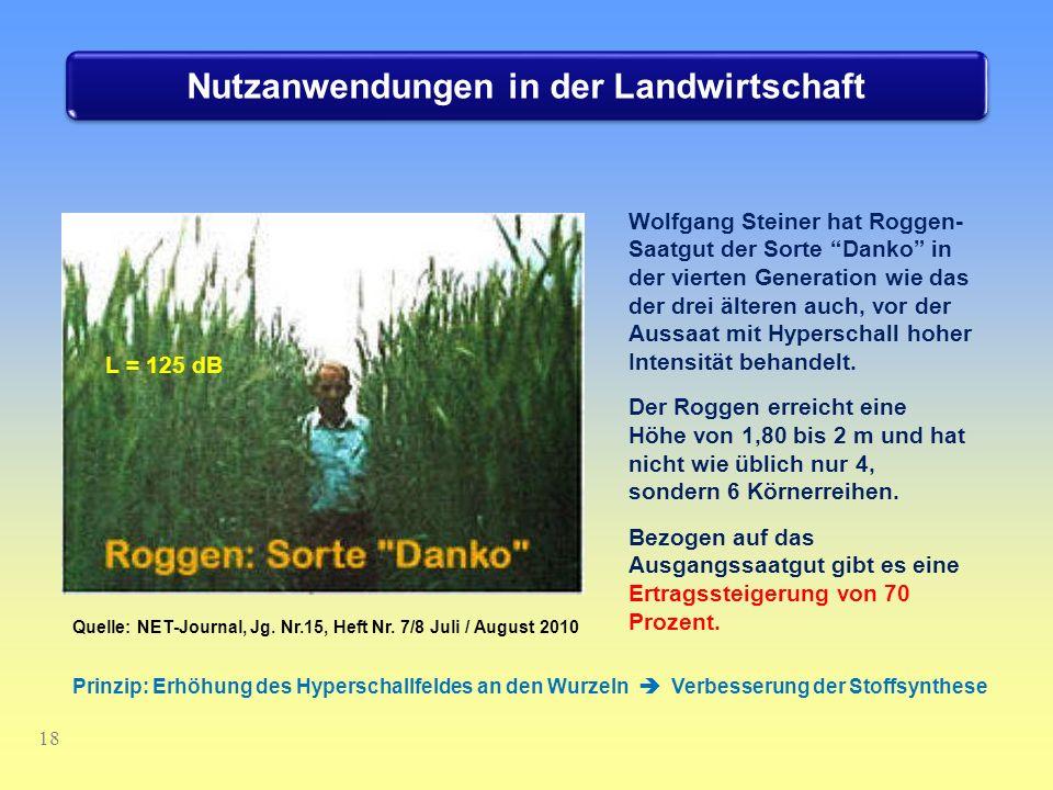 Nutzanwendungen in der Landwirtschaft 18 Wolfgang Steiner hat Roggen- Saatgut der Sorte Danko in der vierten Generation wie das der drei älteren auch,