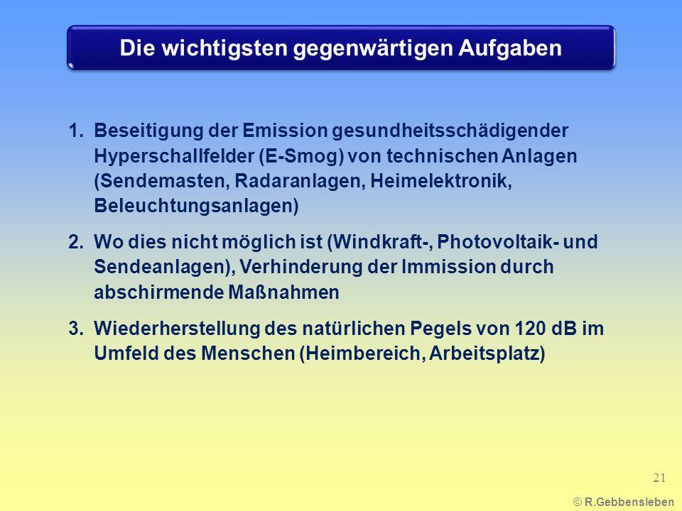 Die wichtigsten gegenwärtigen Aufgaben 1.Beseitigung der Emission gesundheitsschädigender Hyperschallfelder (E-Smog) von technischen Anlagen (Sendemas