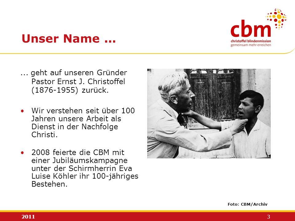 2011 3 Unser Name...... geht auf unseren Gründer Pastor Ernst J. Christoffel (1876-1955) zurück. Wir verstehen seit über 100 Jahren unsere Arbeit als