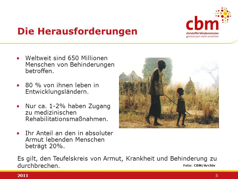 2011 5 Die Herausforderungen Weltweit sind 650 Millionen Menschen von Behinderungen betroffen. 80 % von ihnen leben in Entwicklungsländern. Nur ca. 1-