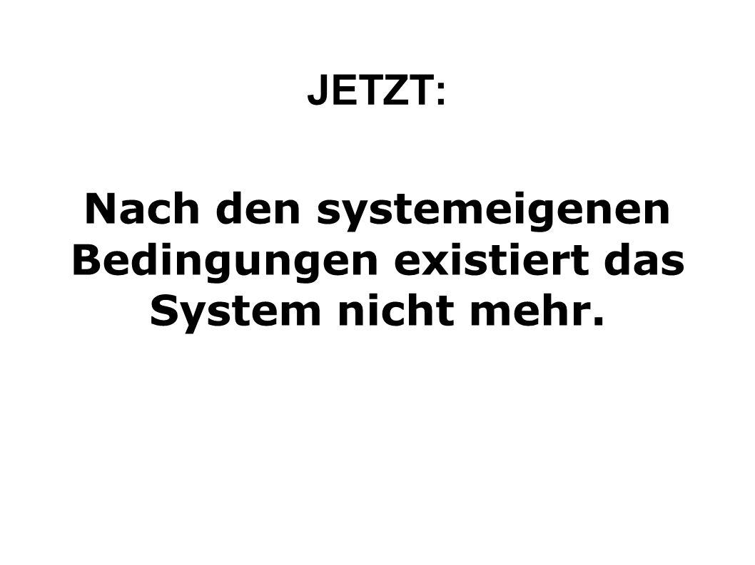 JETZT: Nach den systemeigenen Bedingungen existiert das System nicht mehr.