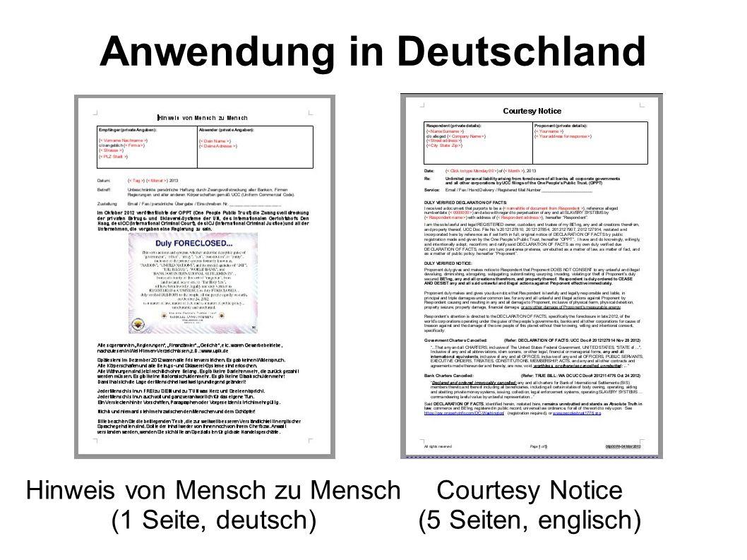 Anwendung in Deutschland Courtesy Notice (5 Seiten, englisch) Hinweis von Mensch zu Mensch (1 Seite, deutsch)