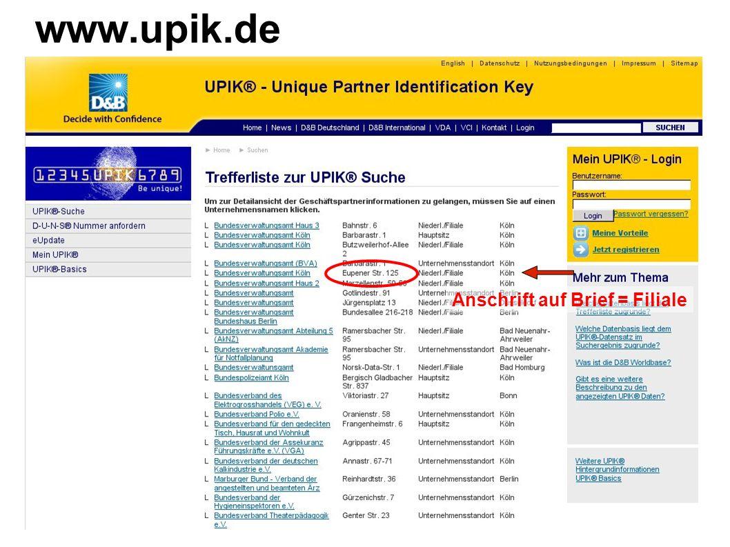 www.upik.de Anschrift auf Brief = Filiale