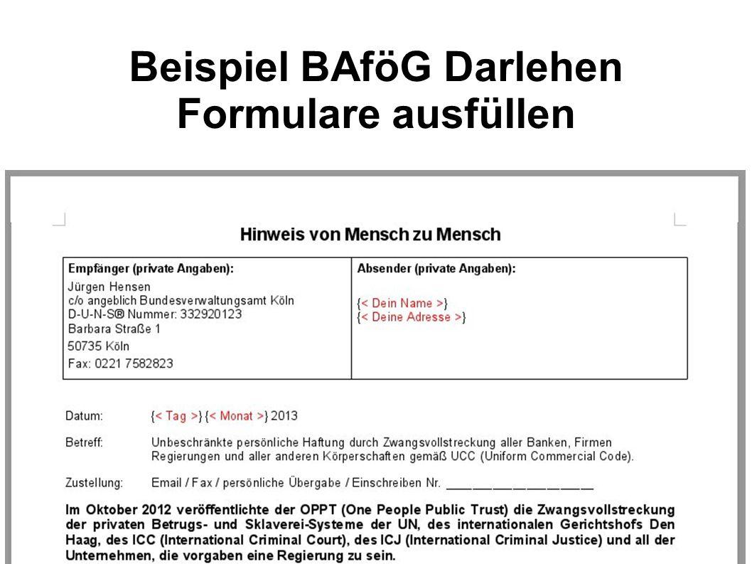 Beispiel BAföG Darlehen Formulare ausfüllen