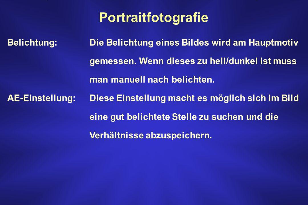Portraitfotografie Belichtung: Die Belichtung eines Bildes wird am Hauptmotiv gemessen. Wenn dieses zu hell/dunkel ist muss man manuell nach belichten