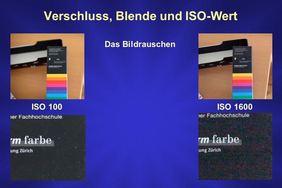 Verschluss, Blende und ISO-Wert ISO 100ISO 1600 Das Bildrauschen