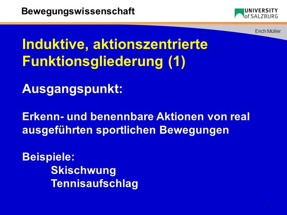 5 Erich Müller Bewegungswissenschaft Die eigentliche funktionale Gliederung ergibt sich erst aus der Bestimmung der Zwecke, die mit den Aktionen im Rahmen der gesamten Bewegungsaufgabe zu erreichen sind.
