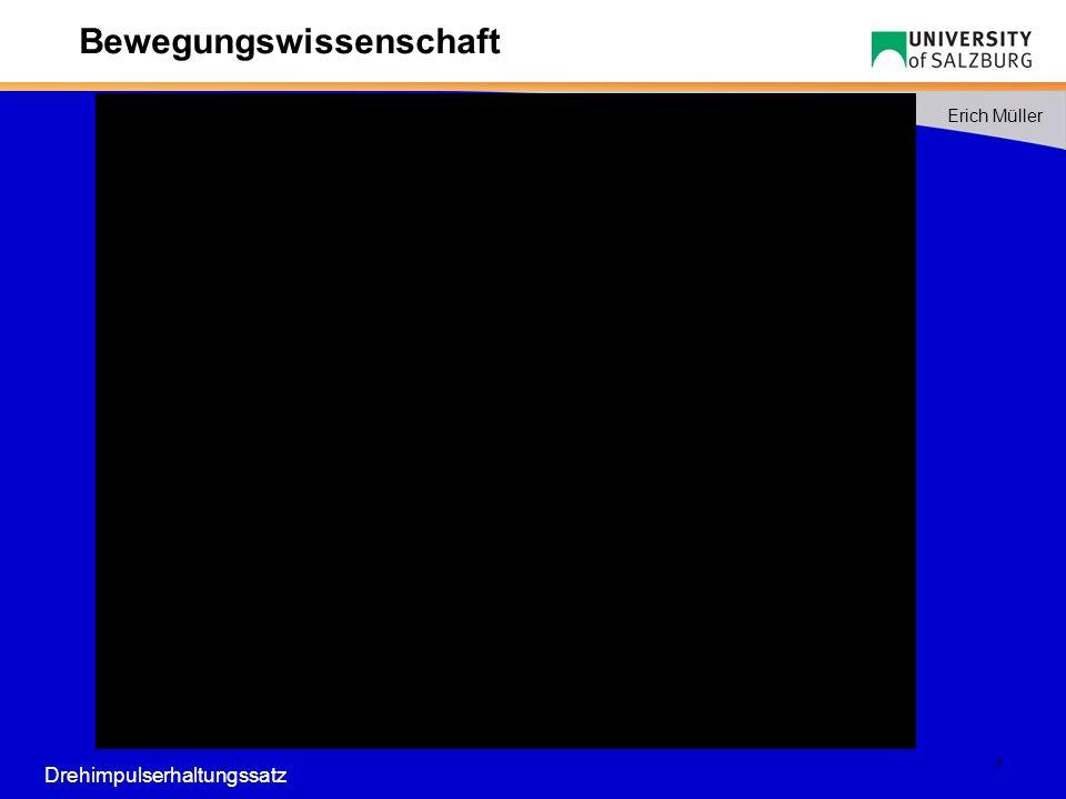 8 Erich Müller Bewegungswissenschaft 0 500 1 000 1 500 2 000 2 500 t 0 t 1 t 2 t 3 t 4 F [N] A 1 A1A1 A2A2 A3A3 F max F expl FGFG Counter movement jump