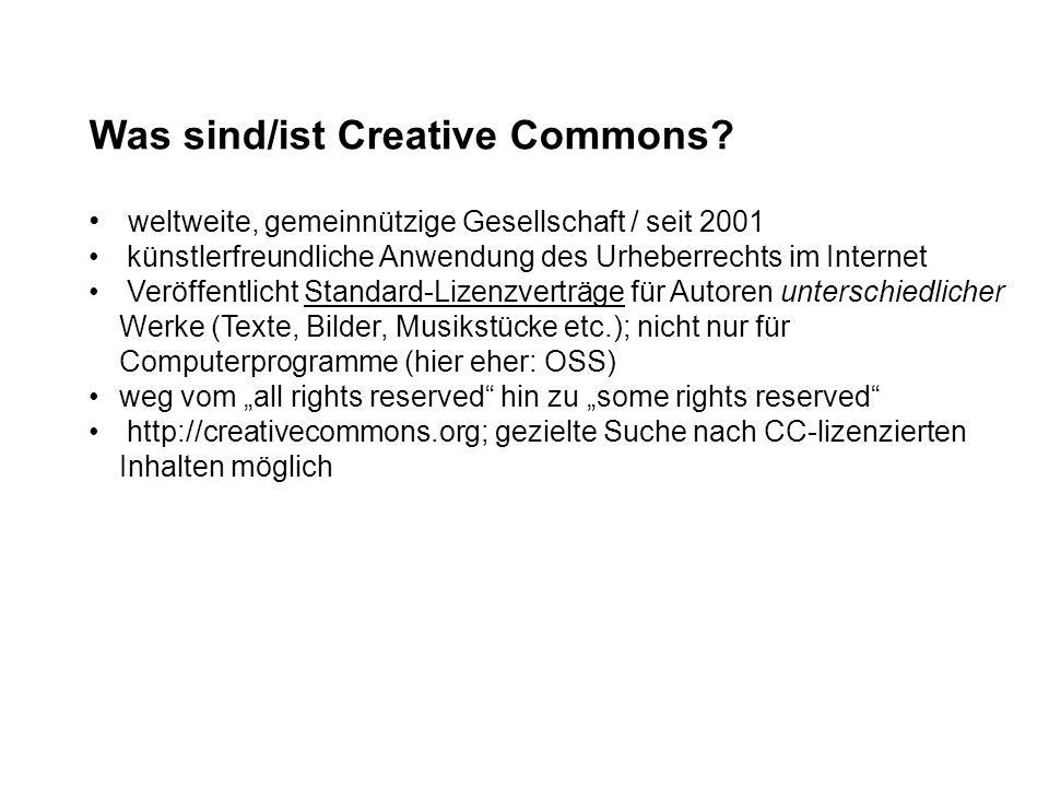 Was sind/ist Creative Commons.