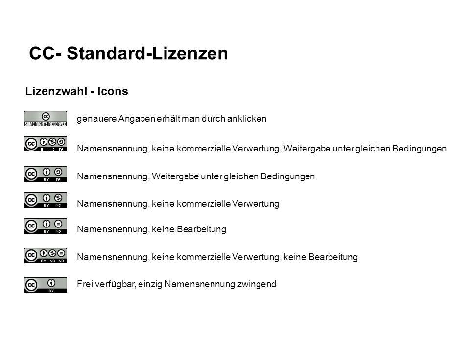 CC- Standard-Lizenzen genauere Angaben erhält man durch anklicken Namensnennung, keine kommerzielle Verwertung, Weitergabe unter gleichen Bedingungen Namensnennung, Weitergabe unter gleichen Bedingungen Namensnennung, keine kommerzielle Verwertung Namensnennung, keine Bearbeitung Namensnennung, keine kommerzielle Verwertung, keine Bearbeitung Frei verfügbar, einzig Namensnennung zwingend Lizenzwahl - Icons
