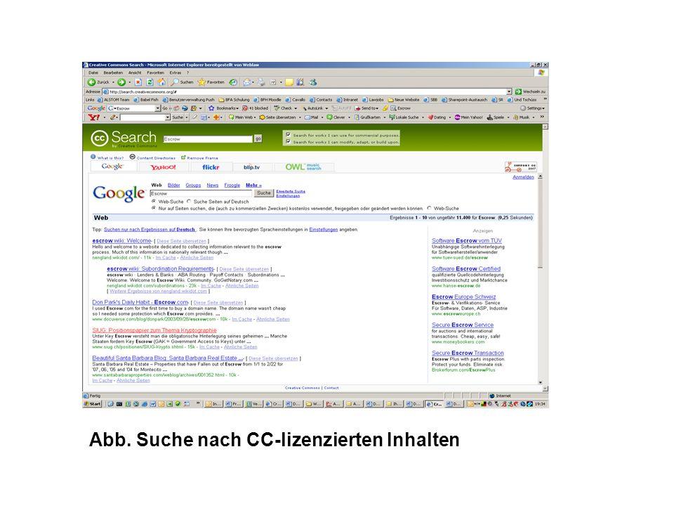 Abb. Suche nach CC-lizenzierten Inhalten