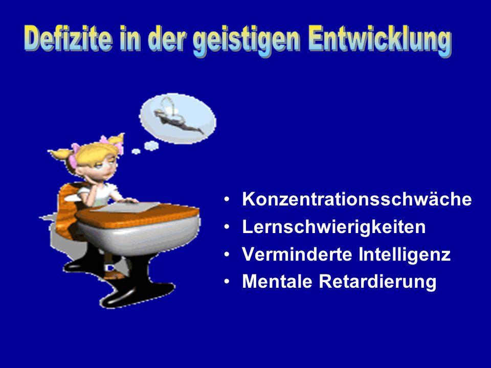 Konzentrationsschwäche Lernschwierigkeiten Verminderte Intelligenz Mentale Retardierung