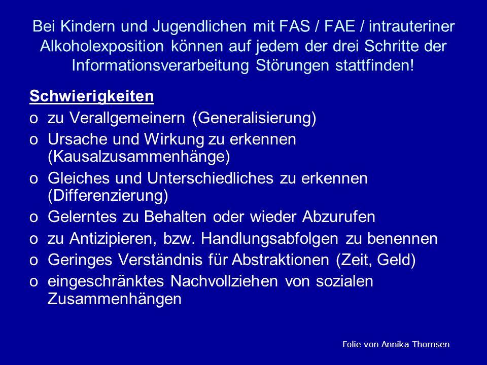 Bei Kindern und Jugendlichen mit FAS / FAE / intrauteriner Alkoholexposition können auf jedem der drei Schritte der Informationsverarbeitung Störungen