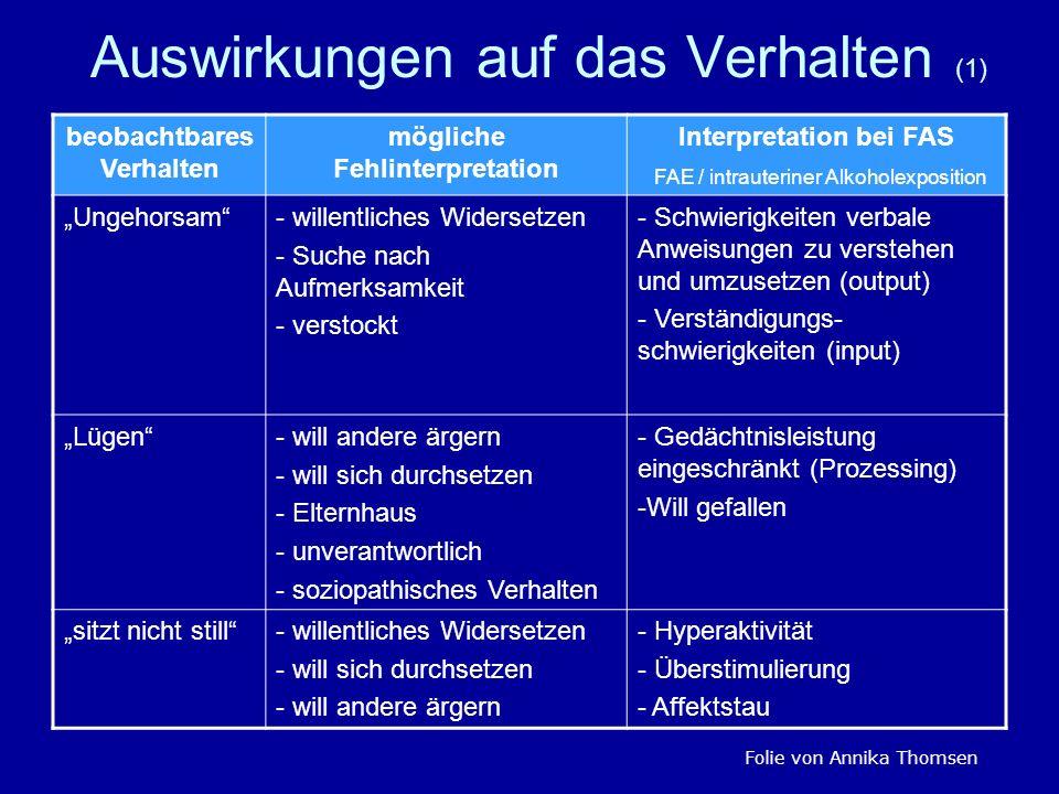 Auswirkungen auf das Verhalten (1) beobachtbares Verhalten mögliche Fehlinterpretation Interpretation bei FAS FAE / intrauteriner Alkoholexposition Un