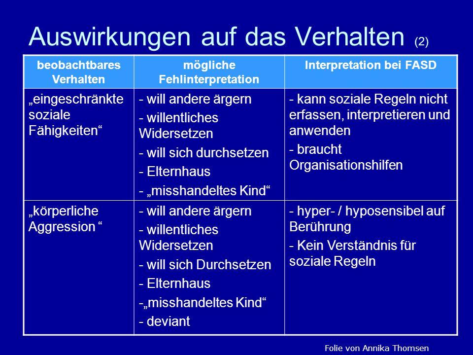 Auswirkungen auf das Verhalten (2) beobachtbares Verhalten mögliche Fehlinterpretation Interpretation bei FASD eingeschränkte soziale Fähigkeiten - wi
