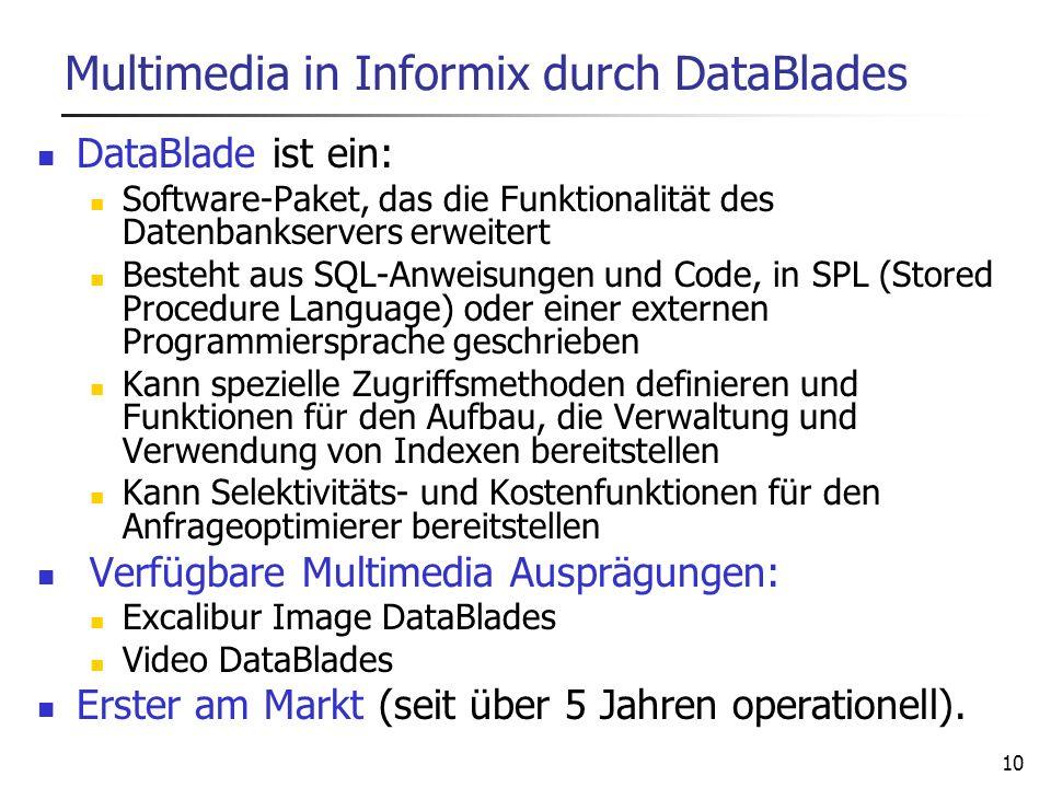 10 Multimedia in Informix durch DataBlades DataBlade ist ein: Software-Paket, das die Funktionalität des Datenbankservers erweitert Besteht aus SQL-An