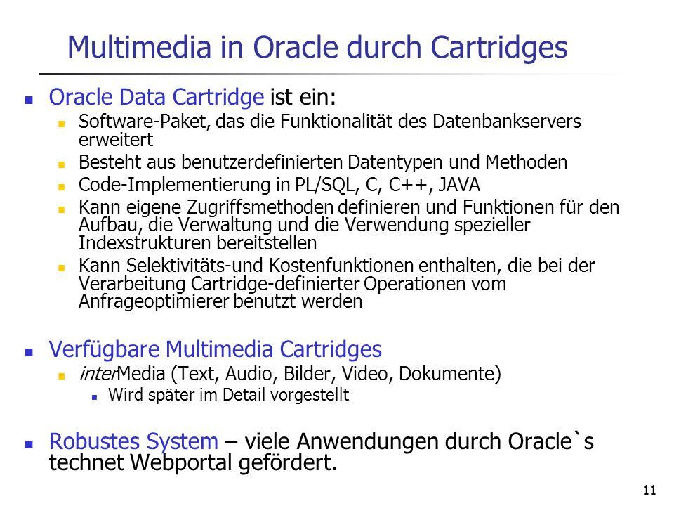11 Multimedia in Oracle durch Cartridges Oracle Data Cartridge ist ein: Software-Paket, das die Funktionalität des Datenbankservers erweitert Besteht
