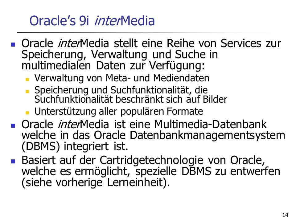 14 Oracles 9i interMedia Oracle interMedia stellt eine Reihe von Services zur Speicherung, Verwaltung und Suche in multimedialen Daten zur Verfügung: