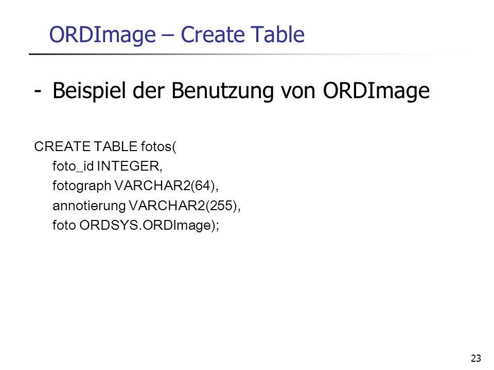 23 ORDImage – Create Table -Beispiel der Benutzung von ORDImage CREATE TABLE fotos( foto_id INTEGER, fotograph VARCHAR2(64), annotierung VARCHAR2(255)