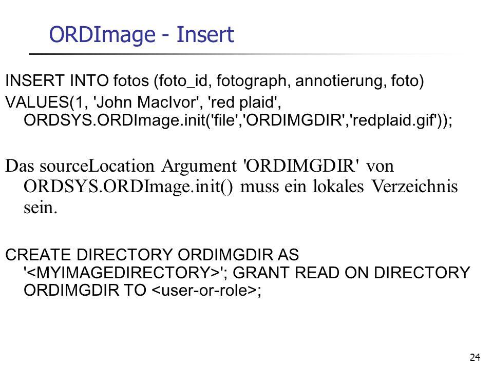 24 ORDImage - Insert INSERT INTO fotos (foto_id, fotograph, annotierung, foto) VALUES(1, 'John MacIvor', 'red plaid', ORDSYS.ORDImage.init('file','ORD